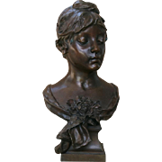 "Eugene Marioton "" The Rose "" Female Beauty Bronze French 19th C"