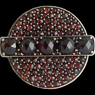 Victorian 10K Gold Faceted Pave Garnet Ring
