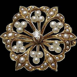 Victorian 14K Gold Diamond Cultured Seed Pearl Pin Pendant