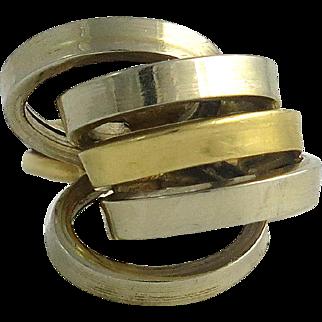 Vintage 18K Gold and Sterling Modernist Ring