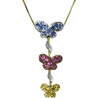 14K Yellow and White Gold Sapphire Butterfly Pendant