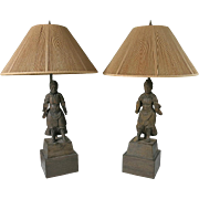 Pair of Early Japanese Carved Warriors Mounted As Lamps