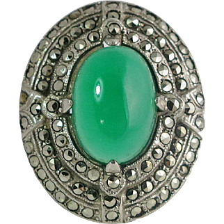 Art Deco Sterling Chalcedony Marcasite Ring
