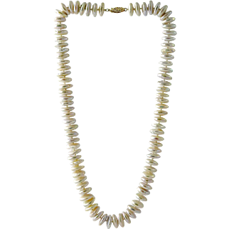 Freshwater Coin Cultured Pearl Necklace 14K Gold Clasp
