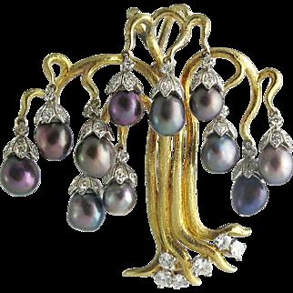 Julius Cohen 18K Gold Diamond Cultured Pearl Tree Pendant / Pin