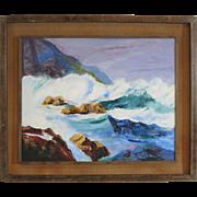 "Seascape "" Crashing Waves "" Oil On Canvasboard 1960's"