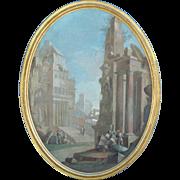 "Pietro Paltronieri Italian 1673-1741 "" Capriccio "" Tempera On Canvas"
