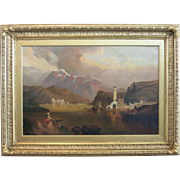 19th Century British Landscape With Mountains And Lake