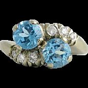 Vintage 14K White Gold Blue Zircon Diamond Bypass Ring