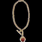 Victorian Gold Watch Chain Necklace Intaglio Carnelian Fob