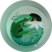 Correia Studio Art Glass Paperweight With Frog