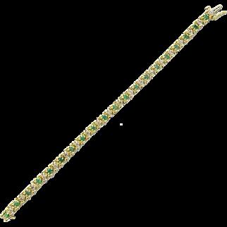 Vintage 14K Gold Emerald Diamond Link Bracelet