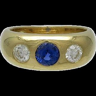 Victorian 18K Gold Sapphire & Diamond Gypsy Ring