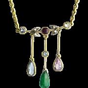 Edwardian 18K Gold Necklace with Multi Gem Drops