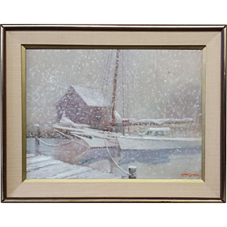 """Bryan Quirk """"Winter Snow"""" Oil On Canvas"""