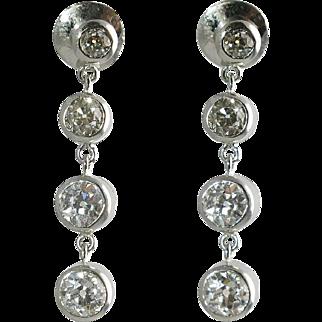 Platinum & Bezel Set Diamond Drop Earrings