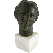 Ancient Greek Style Bronze Portrait Bust on Marble Base