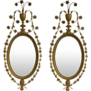 Pair Of Eighteenth Century English Carved Giltwood George III Mirrors
