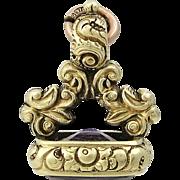 Victorian 14K Gold Amethyst Watch Fob Charm Pendant