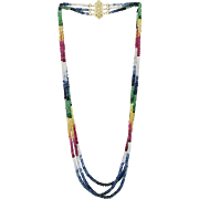 Triple Strand Colored Sapphire Bead Necklace 14K Clasp
