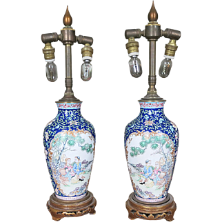 Pair Chinese Canton Enamel Vases Mounted as Lamps