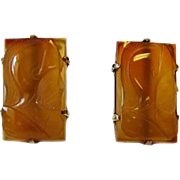 Vintage Large Carved Carnelian Sterling Cufflinks