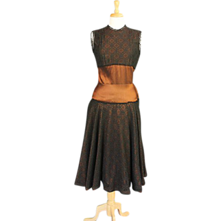 Exotic 1950s - 1960s Bronze and Black Lace Cocktail Dress