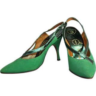 1960s Emerald Green Slingback Heels
