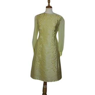60s-70s Canary Yellow, Ribbon Embroidered Dress