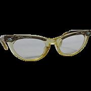 50s Engraved Plastic/Aluminum Cat Eye Glasses