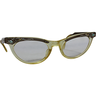 50s Engraved Plastic/Aluminum Cat Eye Glasses