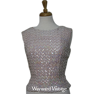 Elegant and Glitzy 1960s Light Pink Sequined Top