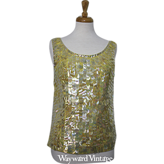 "1960s Yellow ""Jerri Jo"" Sequin Top"