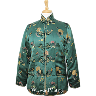 "Stunning Green Silk Satin ""Peony"" Asian Jacket"