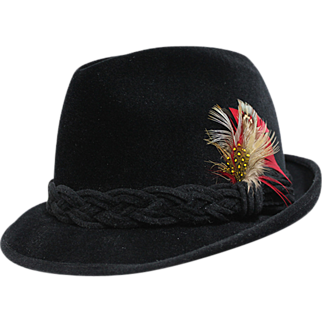 "Black Velvet ""Romelli"" Men's Hat with Braid Trim"