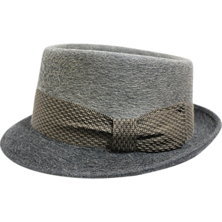 "60s - 70s Men's Gray Felt ""Pilgrim"" Hat"