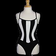 1980s Black and White One Piece Swim Suit