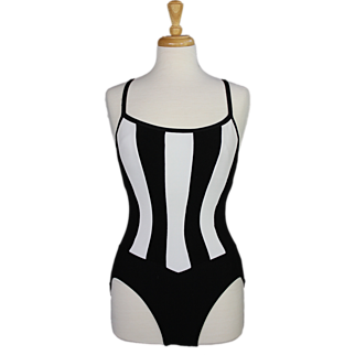 1980s Black and White One Piece Swim Suit