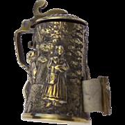 Antique Etui Figural Austrian Brass Stein Signed Tape Measure Thimble Holder