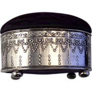 Antique Silver Pincushion Box  Edwardian 1906 Chester Swags Ribbons and Bows
