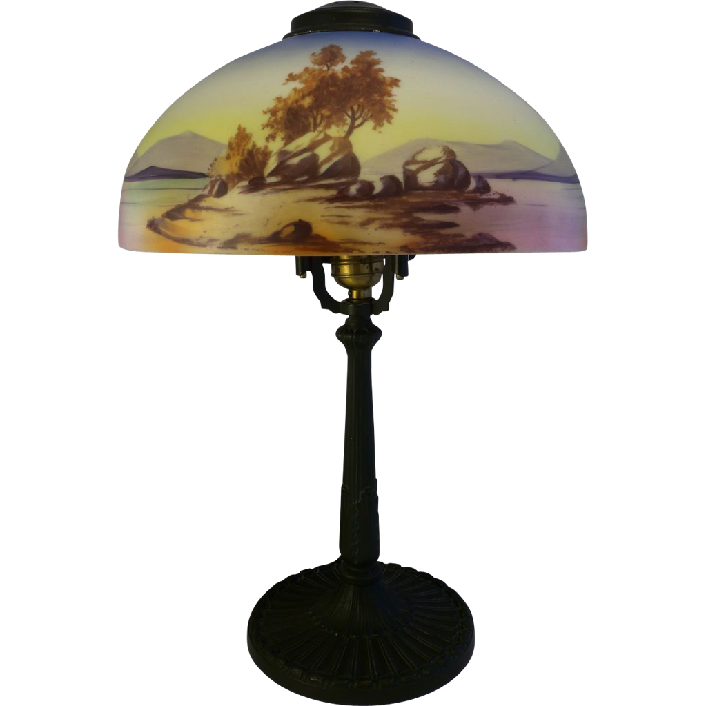 Antique American Lamp Pittsburgh PLB AmpCo Reverse Painted
