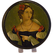 Georgian Papier Mache Georgian Portrait Table Snuff Box Stobwasser Style