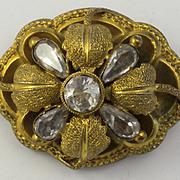 Antique 14kt Gold Mourning Brooch 3 Dimensional Flower Design  Rock Crystal Natural Stones