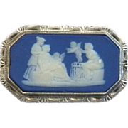 Antique Wedgwood Bright Cut Silver Cameo Brooch Dark Blue Jasper C 1769