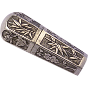1800's Chinese Silver Sewing Etui Thread/Needle  Holder Embossed Bamboo & Blossoms Design