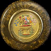 Georgian Snuff box/Patch box Burled Wood Urn of Flowers C 1750's