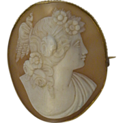 Antique  Oyster Shell Cameo Brooch  Flora  Large/ High Relief