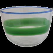 """Mid Century Vicke Lindstrand Swedish  Boda Art Glass Bowl """"Unica""""  C1950 Tri-Colored"""