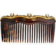 American 14kt gold Genuine Natural  Pearl Shell Hair Comb Hallmarked C 1900 to 1910