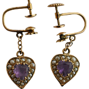 Edwardian Heart Shaped Amethysts Natural Seed Pearls 10kt Gold Earrings  American